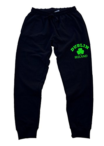 Interstate Apparel Men's Dublin Ireland Shamrock V507 Black Fleece Gym Jogger Sweatpants X-Large Black