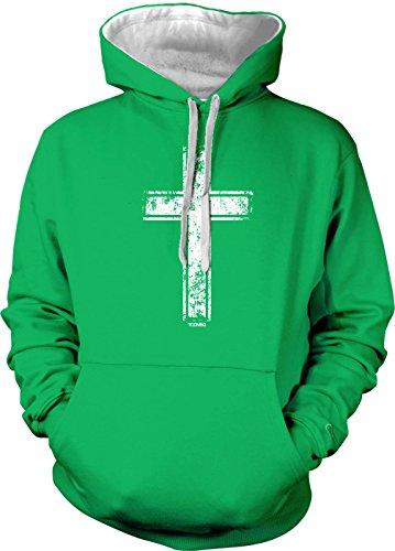 Distressed Cross - Religious Christian Men's 2 Tone