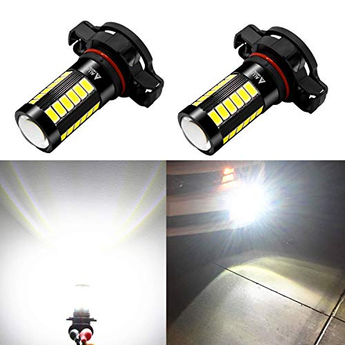 Alla Lighting 5202 LED Fog Light Bulbs 2800lm Xtreme Super Bright 5202 LED Bulb 5730 33-SMD 12V LED 5202 Bulb PS19W 5201 5202 LED Fog Lights DRL - 6000K Xenon White ()