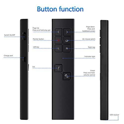 Elekele Wireless Presenter, 2.4GHz Rechargeable Presentation Remote Pointer and Air Mouse Remote Clicker, Presentation Pointer PPT Clicker Powerpoint Remote Control (Black-3)