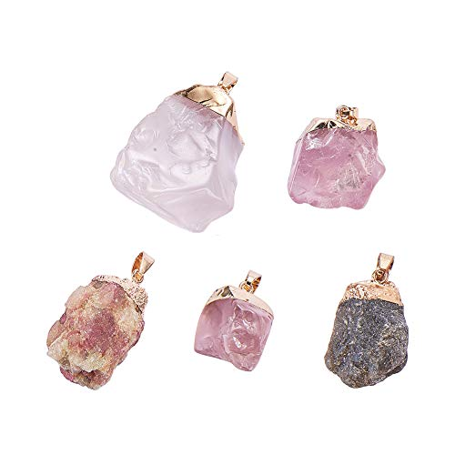 (PandaHall 5 Pcs Natural Crystal Pendants and Labradorite Pendant Charms 5 Styles Length 30-38mm for Bracelet Necklace Jewelry)