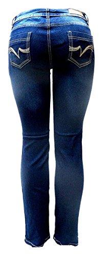 Jack-D Womens Juniors Luscious Curvy Basic Bootcut/Straight Denim Jeans Stretch (3, Dark Blue - Junior Blue