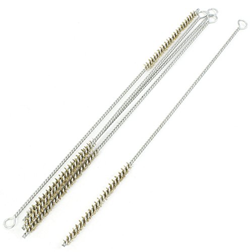 uxcell 5 Pcs 6mm Diameter Brass Wire Tube Brush Cleaning Tool 28cm Length