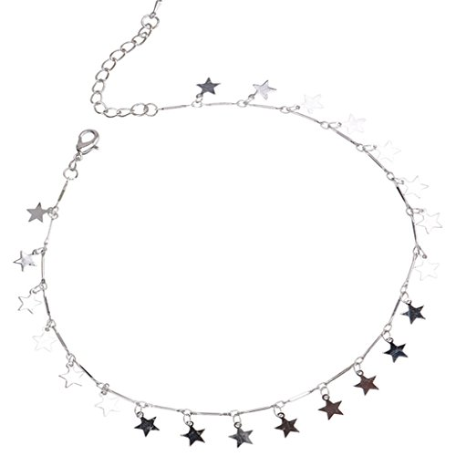 Joan Nunu Chain Choker Necklace for Women Grils Lucky Star Pendant Necklace Handmade ()