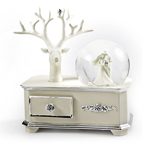 Ivory Wedding Couple Musical Snow Globe Atop Of A Silver Accented Commode - Here Comes the Sun by MusicBoxAttic (Image #2)