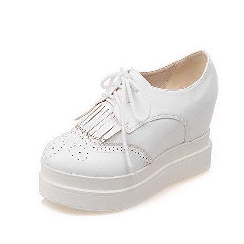 AllhqFashion Damen Hoher Absatz Rein Schnüren Weiches Material Rund Zehe Pumps Schuhe Weiß