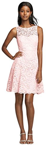 Short Sleeveless All Over Lace Bridesmaid Dress Style F18031, Petal, 2