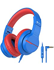 iClever Kids Headphones with Microphone, Sound Sharing Function Wired Headphones for Children, Over-Ear/On-Ear Boys Blue headsets,Volume Limiter 85/94dB, for Tablet/PC/Cellphone/Chromebooks, with 3.5mm Audio Jack, HS19