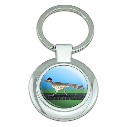 Roadrunner Runs Fast Classy Round Chrome Plated Metal Keychain ()