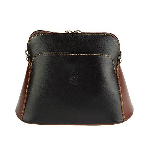 Leather Florence Bolso Gemma marron En Vaca Bandolera Genuino 214 Negro De Cuero Market AHHwxC