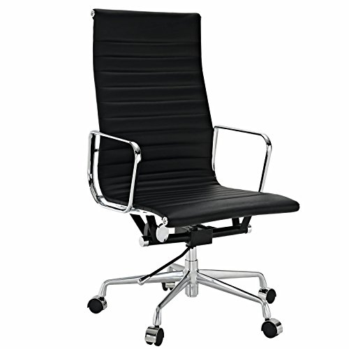 (EMODERN FURNITURE Eames Style Aluminum Group Executive Office Chair Reproduction Leather Black)
