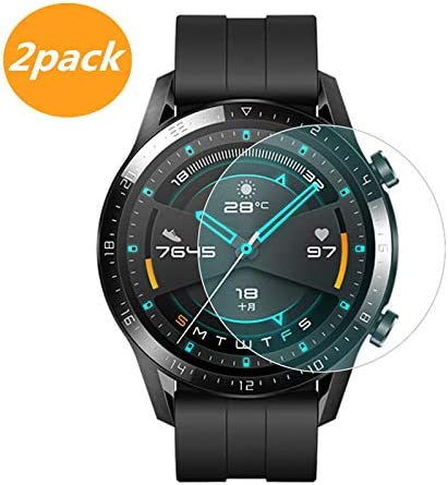 [2-Pack] for Huawei Watch GT2 46mm Screen Protector, Explosion-Proof Anti Scratch Resistance Full Cover Clear Screen Protector Film for Huawei Watch ...