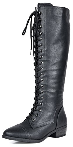 DREAM PAIRS Women's Vine Black Faux Fur Knee High Riding Combat Boots Size 9.5 M US