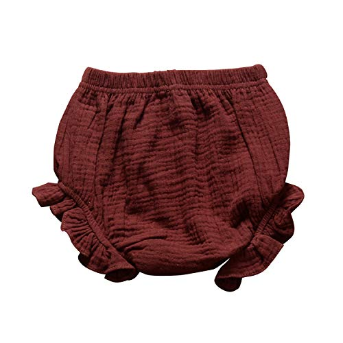 YOUNGER TREE Toddler Kids Baby Girls Summer Clothes Bloomers Ruffle Panty Diaper Covers Underwear Shorts Cotton Clothing (Brown, 12-24 Months)