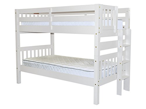 Bunk Bed Twin over Twin with End Ladder, White