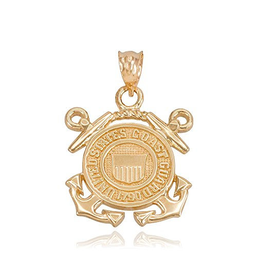 (US Coast Guard Charm Pendant in 14k Yellow Gold)