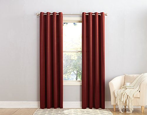 Sun Zero Barrow Energy Efficient Grommet Curtain Panel, 54 x 95 Inch, Paprika Red