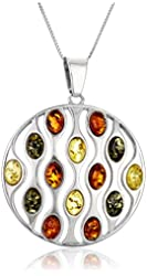 Sterling silver Multi-Color Amber Circle with Chain Pendant Necklace, 18""