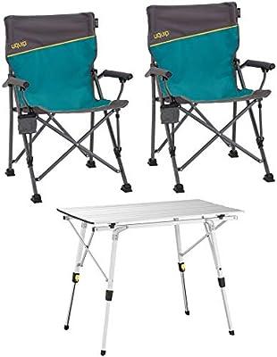 Uquip Bloody, Conjunto de Mesa Aluminio y 2 sillas Plegables ...