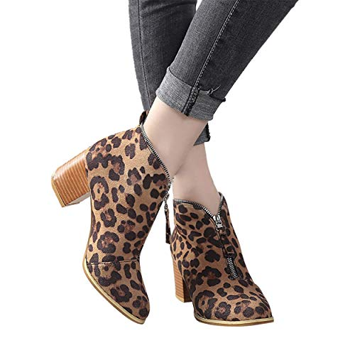 HAPPYSTORE Women Boots Suede Ankle African Shoes Solid Leopard Zipper Short Women Sneakers Dresses Brown