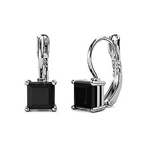Cate & Chloe Samantha Sable 18k White Gold Drop Earrings with Black Swarovski Crystal, Women's Gold Plated Black Diamond Earrings, Dangle Earrings for Women, Wedding Anniversary - MSRP $119
