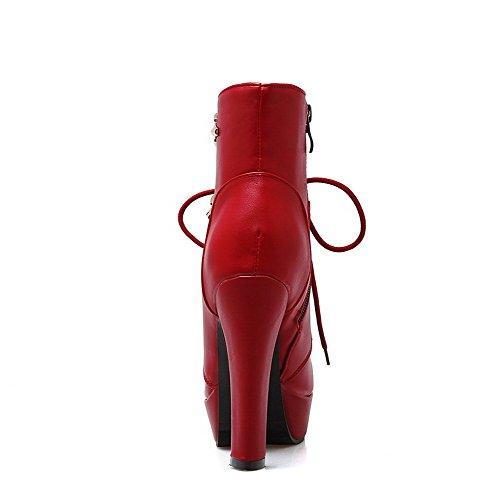 Allhqfashion Donna Stivaletti Tacco Medio-alti Tacco Basso Rosso