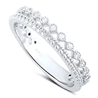 Sterling Silver Double Row Cz Eternity Ring (Size 4 - 11)
