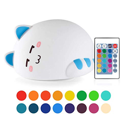 (Night Light for Kids Cat Silicone Night Light Soft Kitty Bedside Lamp RGB Color Changing Remote Rechargeable Xmas Halloween Birthday Gift for Teen)