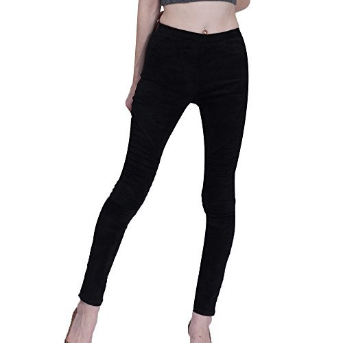 Bella Philosophy Women's Faux Suede Leggings Fold High Waist Retro Elastic Stretchy Slim Pants (XXXL, (Black Suede Pants)