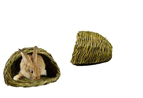 AUCH Woven Grass Hideaway Hut House & Pet Bedding for Rabbits, Guinea Pigs and Small Animals, 8.2 x 5.1 x 7.5 (Peters Grass Ball)