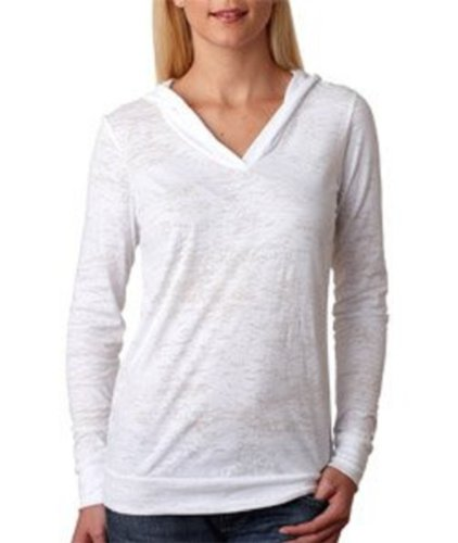(Next Level 6521 Ladies' Poly/Cotton Long-Sleeve Burnout Hooded Tee Hoody - White 6521)