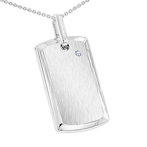 Sterling Silver Diamond Dog Tag Pendant & 24