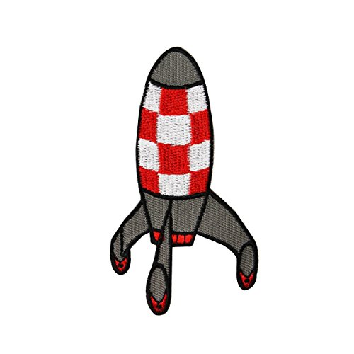 Ship Applique - Retro Rocket Ship Missile Iron-On Patch Cool Kid Space Craft Decoration Applique