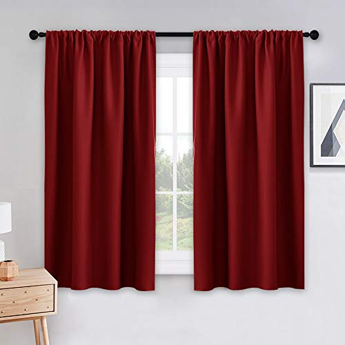 PONY DANCE Blackout Window Curtains - Home Decorative Bedroom Panels Blackout Curtain/Window Covering/Drapes with Rod Pocket Top for Kitchen, 42 W x 45 L, Red, Set of 2
