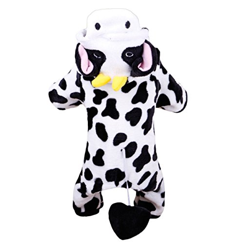 Cowdog Costume (Dooret Super Warm Coral Velvet Dog Coat Cosplay Milk Cow Dog Jacket Fashion Dog Hoodie Pet Dog Outer Garment Puppy Costume)