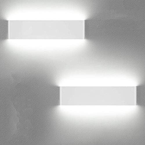LED wandlamp binnen 12W wandlamp Up Down wandlicht wit 6000K aluminium wandverlichting 2 stuks