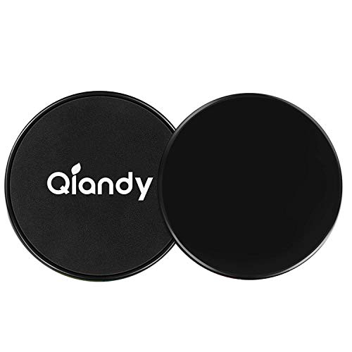 Qiandy Gliding Discs,Core Sliders, Excise Disc with Double Side and Work Smoothly on Any Surface, Compact for Travel and Home Ab Workout(Black)