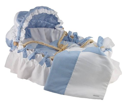 Wendy Anne Cotton - White Pique and Baby Blue Moses Basket