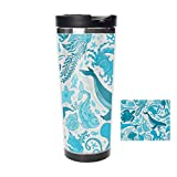 Travel Tumbler - Blue Underwater Sea Life Stainless Steel Travel Mug & Coffee Cup - Thermal Cup with Splash Proof Sliding Lid - Great Gifts At Christmas, 18oz -  jiushiyigezi-n