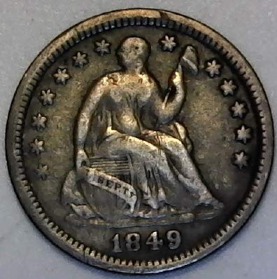 1849 P Silver Liberty Seated 9 Over 6 Half Dime Very Fine