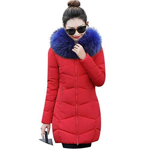 - Winter Coat Women Collar Zippers Pockets Coats Ladies Cotton-Padded Winter Jacket,red 2,L
