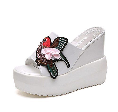 Ouvert Noir Blanc DANDANJIE à Blanc Tongs Bout Modèle Printemps Pantoufles Pour Chaussures Casual PU et Femmes Confort Oiseaux Compensé Mesdames Talon ZzZwHrqU