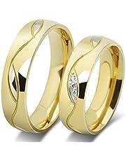 18K Gold Plated Titanium Steel Fashion Shining Diamond Wedding Gift Love Couple Ring Set Female us8 Male us11 cr17-6