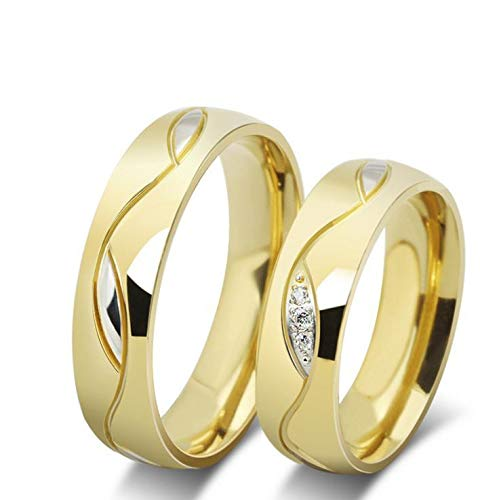 18k Gold Plated Titanium Steel Fashion Shining Diamond Wedding