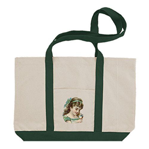 Cotton Canvas Boat Tote Bag Girl Holding And Watching Bird By Style In Print   Green