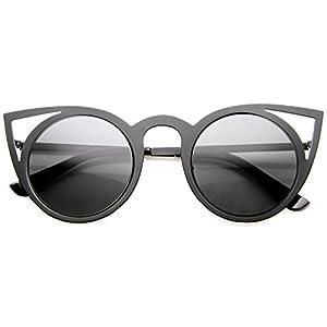 zeroUV - Womens Fashion Round Metal Cut-Out Flash Mirror Lens Cat Eye Sunglasses (Black / Smoke)