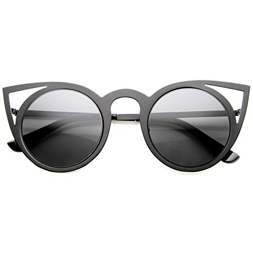 zeroUV - Womens Fashion Round Metal Cut-Out Flash Mirror Lens Cat Eye Sunglasses (Black / - Cat Shape Eye