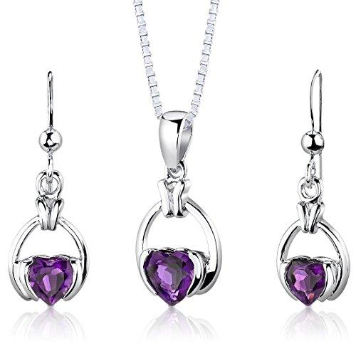 Jewelry Gemstone Amethyst Set - Amethyst Pendant Earrings Necklace Sterling Silver Rhodium Nickel Finish Simple Heart Shape 1.75 Carats