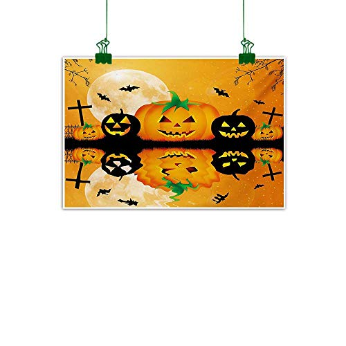 Halloween,Modern Art Spooky Carved Halloween Jack o Lantern and Full Moon with Bats and Grave Lake Unframed Art Orange Black W 32