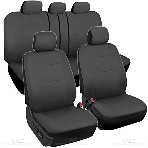 BDK Charcoal Black Car Seat Covers Full 9pc Set - Sleek & Stylish - Split Option Bench 5 Headrests Front & Rear Bench - ()